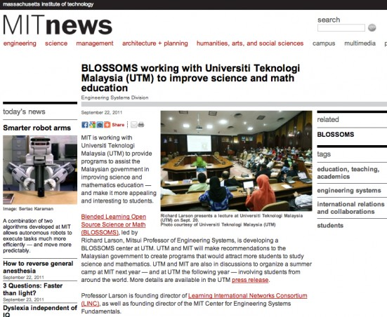 MIT BLOSSOMS and Universiti Teknologi Malaysia (UTM)