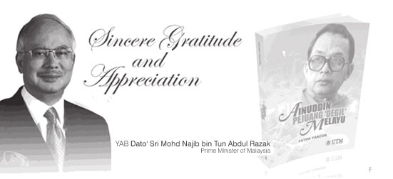 """Sincere Gratitude & Appreciation to our Prime Minister for officiating the Book Launch """"Ainuddin Pejuang Degil Melayu"""" By Fatini Yaacob."""