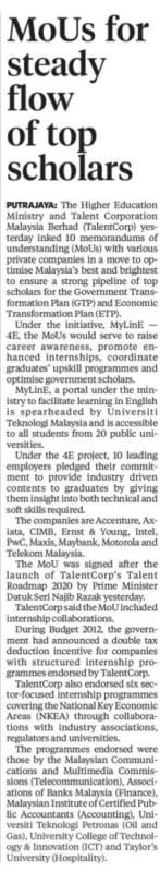 MoUs for steady flow of stop scholars - News Clipping