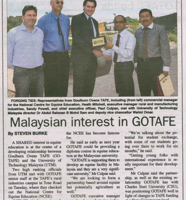 Malaysian Interest in GOTAFE