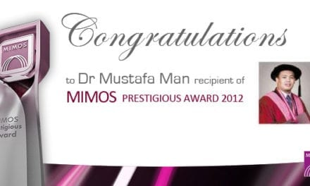 Congratulations to Dr Mustafa Man, recipient of MIMOS Prestigious Award 2012