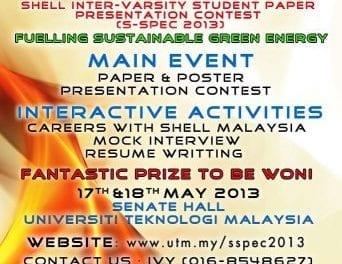 Shell Inter-Varsity Student Paper Presentation Contest (S-SPEC 2013)