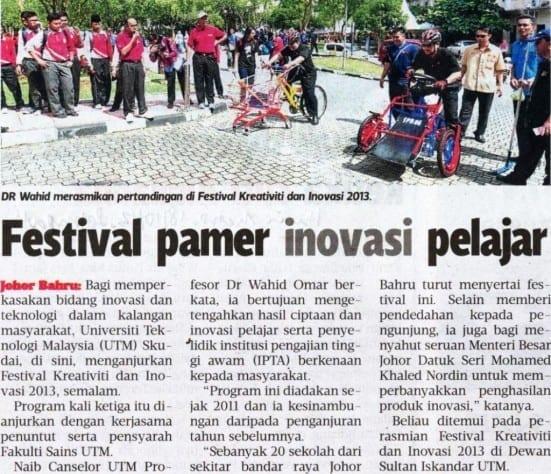 Festival pamer inovasi pelajar Harian Metro 18 Oktober 2013-1
