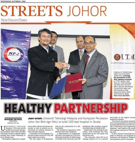Healthy partnership - NST 2 Oct. 2013