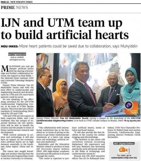 IJN and UTM team up to build artificial hearts - NST 12 Oct. 2013