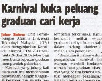 Karnival buka peluang graduan cari kerja – Harian Metro – 23 Okt. 2013