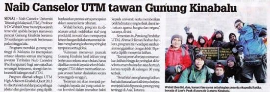 Naib Canselor UTM tawan Gunung Kinabalu Sinar Harian 11 Oktober 2013-1