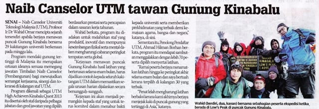 Naib Canselor UTM tawan Gunung Kinabalu