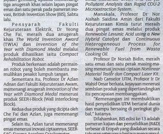 Penyelidik UTM catat kejayaan gemilang – Sinar Harian 4 Nov. 2013