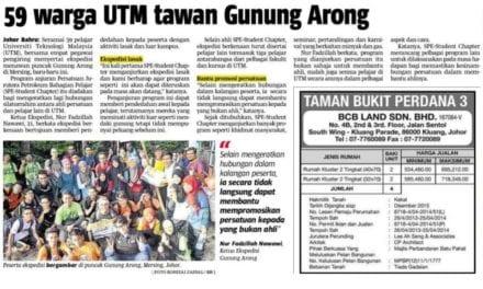 59 warga UTM tawan Gunung Arong – Berita Harian (Johor) 27 Nov. 13