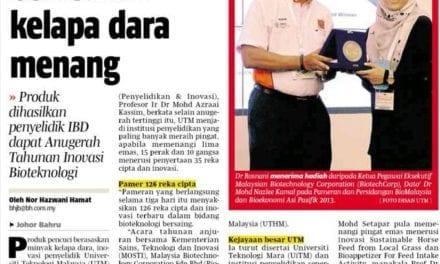 Pencuci berasaskan kelapa dara menang – BH (Johor) 1 Nov. 2013