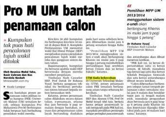 Pro M UM bantah penamaan calon – Berita Harian 26 Nov. 13