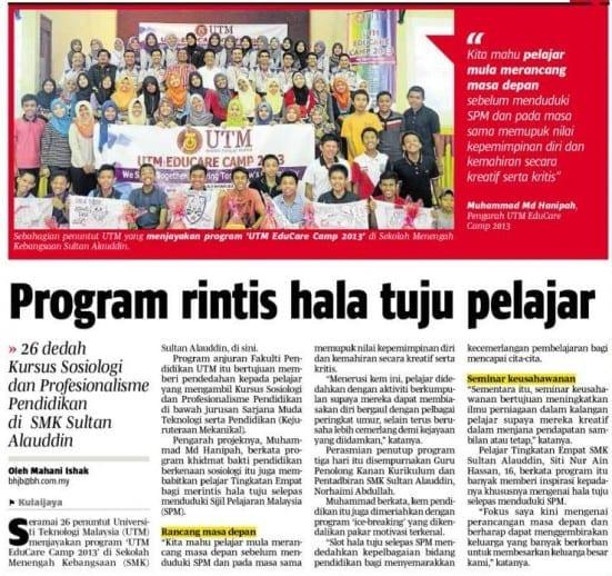 Program rintis hala tuju pelajar - BH 12 Nov 2013