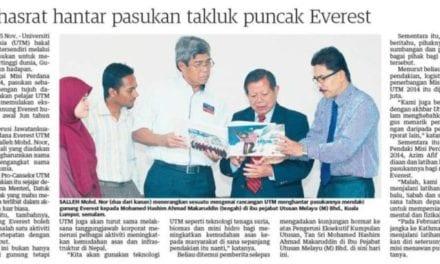 UTM hasrat hantar pasukan takluk puncak Everest – Utusan 16 Nov. 2013