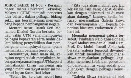 UTM perlu jadi pencetus idea bangun negara – Utusan Malaysia (Johor) 15 Nov. 2013