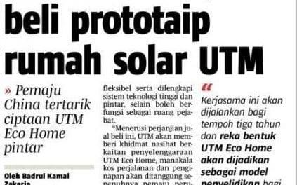 Tawar RM350,000 beli prototaip rumah solar UTM
