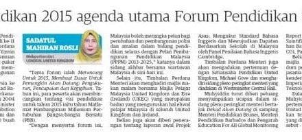 Visi pendidikan 2015 agenda utama Forum Pendidikan Sedunia