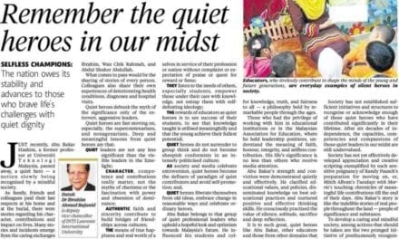 Remember the quiet heroes in our midst – NST 14 Feb. 2014
