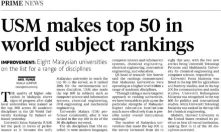 USM makes top 50 in world subject ranking – NST 27 Feb. 2014