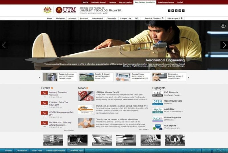 UTM New Website Facelift