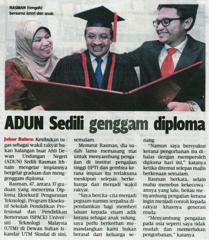 ADUN Sedeli genggam diploma