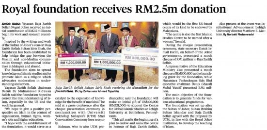 29052014 - Royal foundation receives RM2.5m donation [NST-Streets Johor]