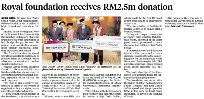 Royal foundation receives RM2.5m donation