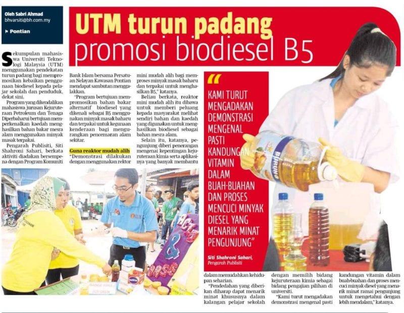 UTM turun padang promosi biodiesel B5