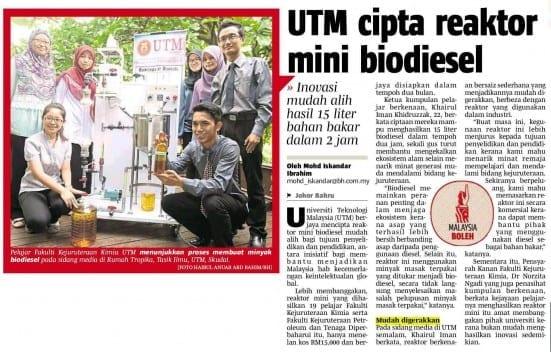 04062014 - UTM cipta reaktor mini biodiesel [BH-Nasional]