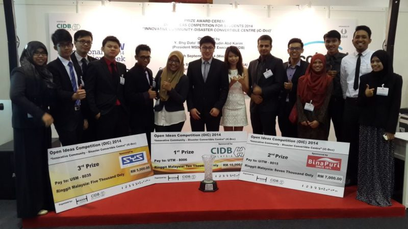 First Prize for UTM Architecture and Civil Engineering Students in the National MSSA Students Open Ideas Competition Award 2014