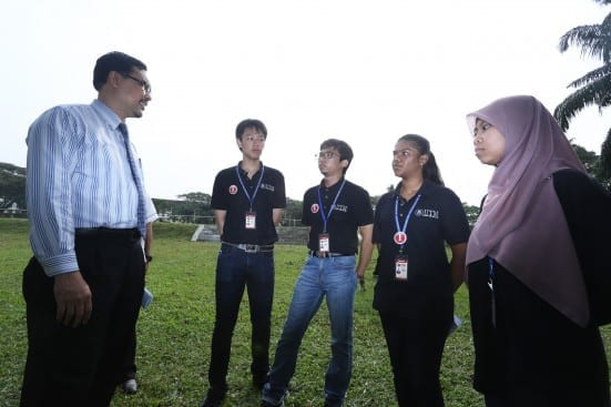 Prof. Azlan (most left) chats with newly registered Bachelor of Science (Equine Management) students at UTM Equine Park, Johor Bahru campus.