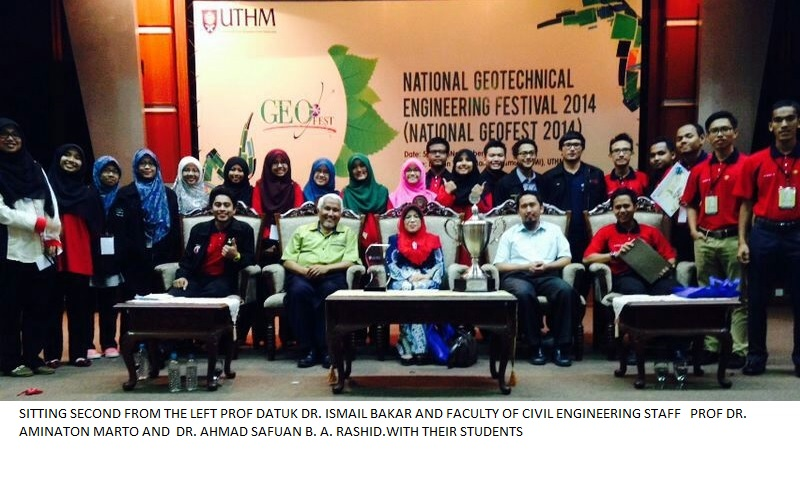 UTM Civil Engineering Students Won Best Model Award at National Geotechnical Festival 2014