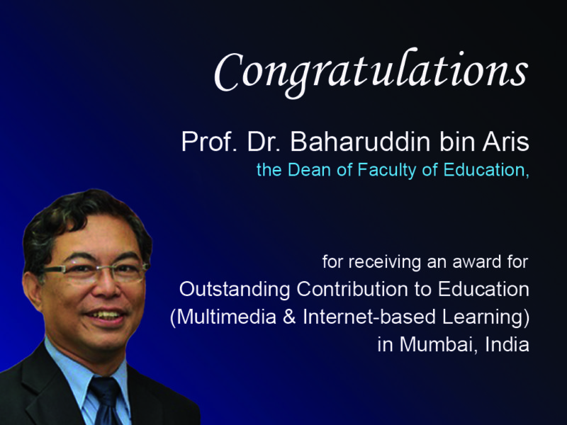 Congratulations Prof. Dr. Baharuddin for receiving Outstanding Contribution to Education Award