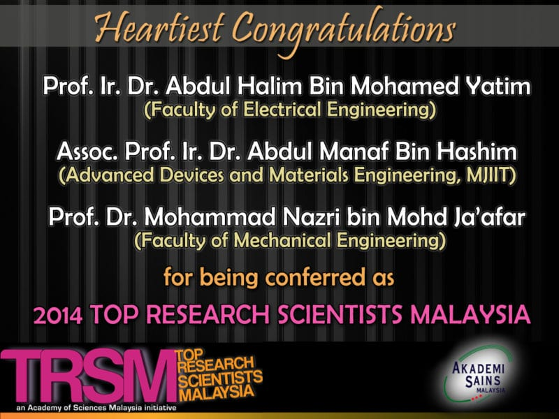 3 UTM Scholars Conferred Top Research Scientists Malaysia 2014