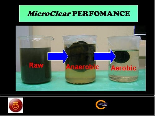 The Micro Clear products performance in transforming the black color water into clear color.