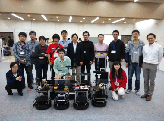 UTM team  showing the robots which won the competition.