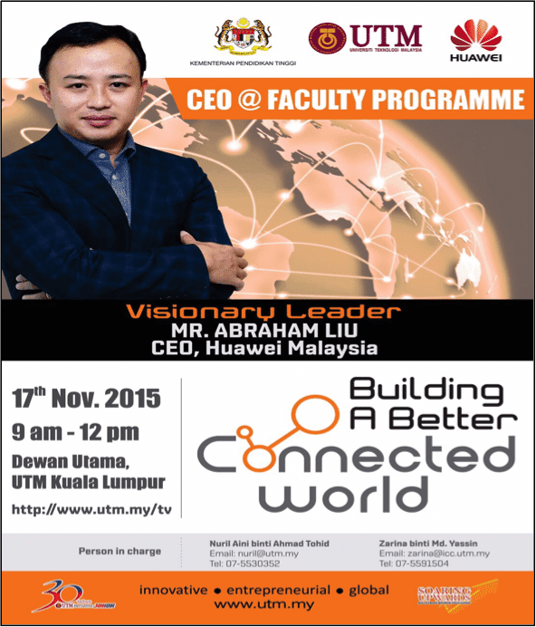 CEO Huawei Malaysia Gives Inspiring Talk at UTM under the CEO @ Faculty Programme