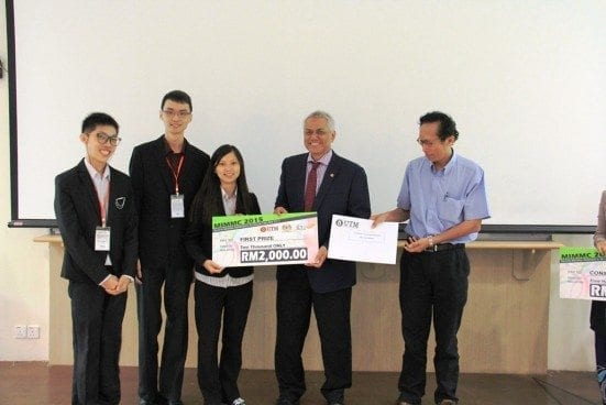 UTM team receiving winning prize after being nominated crowned as the first place winer at