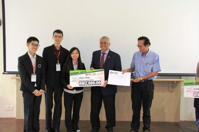 UTM FS Student Team Champion of the Malaysian Industrial Mathematical Modelling Challenge (MIMMC) 2015