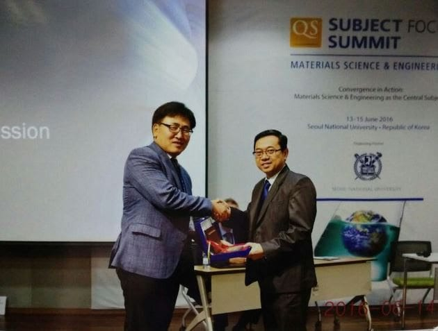Prof Dr Ahmad Fauzi Ismail represents UTM as an invited speaker at the QS Subject Focus Summit – Materials Science & Engineering held in Seoul National University, South Korea