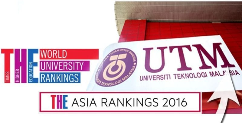 UTM listed in the Top 100 in THE Asia University Rankings 2016