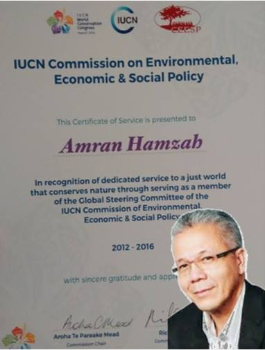 Prof. Amran honoured at the IUCN World Conservation Congress