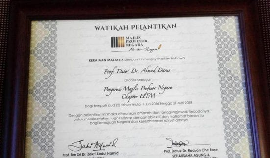 Prof. Dato' Dr. Ahmad Darus certificate of appoinment from MPN Headquarters