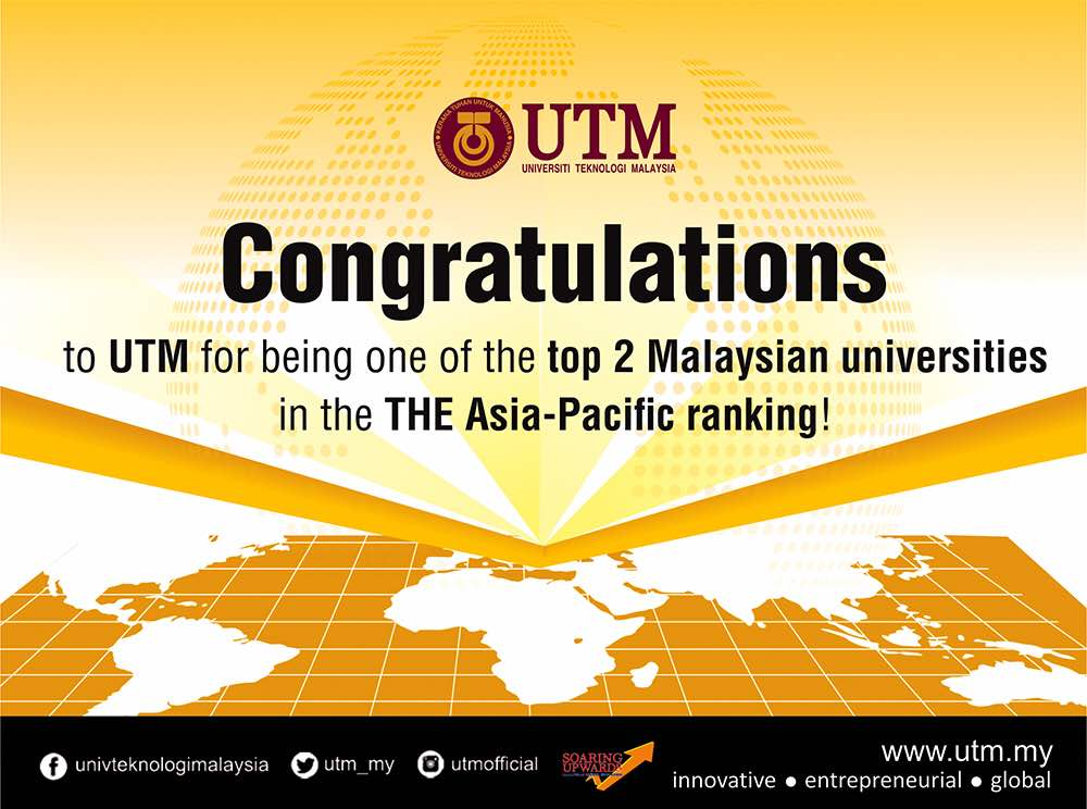 Times Higher Education Asia-Pacific Ranking 2017: UTM joint top university in Malaysia