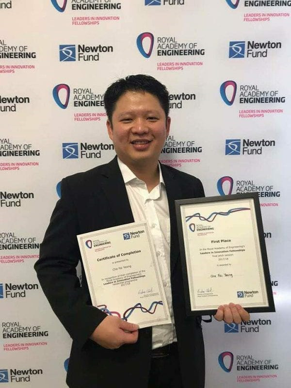 Dr Yeong Che Fai wins first place in the  Royal Academy of Engineering's Leaders in Innovation Fellowships