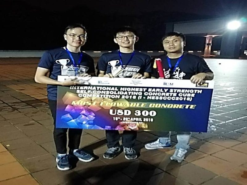 FKA Team won most flowable concrete and best presentation award in International Highest Early Strength Self-Consolidating Concrete Cube Competition (i-HESSCCC) 2018.