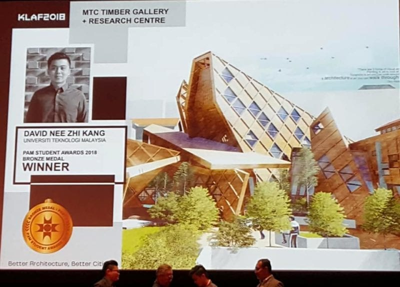 UTM Architecture Student Won Bronze Medal at PAM Student Awards 2018