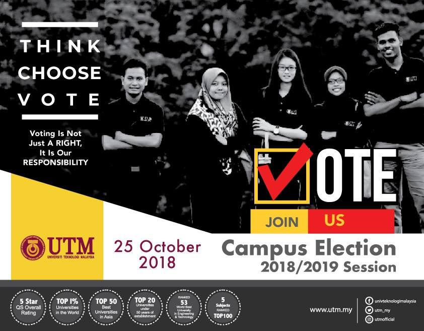 Warna-warni Kempen Pilihan Raya Kampus UTM Sesi 2018/2019