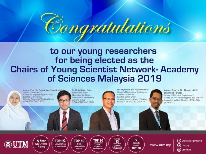 Four UTM researchers appointed as Co-Chairs and New Member of YSN-ASM 2019