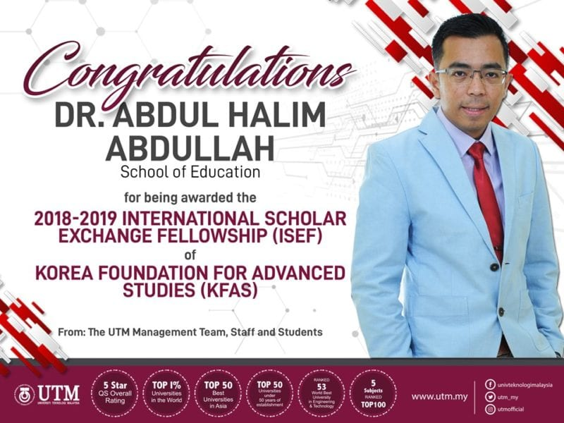 UTM Researcher Secured International Scholar Exchange Fellowship